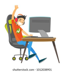 Caucasian white teenage gamer in headset playing video game on a computer and celebrating victory. Technology and gaming concept. Vector cartoon illustration isolated on white background.