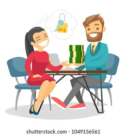 Caucasian white woman giving money for a house to real estate agent. Conclusion of real estate deal between realtor and buyer. Vector cartoon illustration isolated on white background. Square layout.