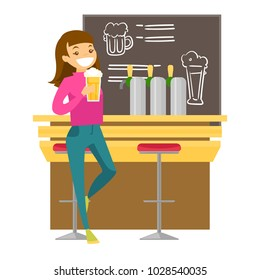 Caucasian white woman sitting at the bar counter and drinking beer. Woman relaxing at the bar with a glass of alcohol drink. Vector cartoon illustration isolated on white background. Square layout.