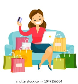 Caucasian white woman sitting on the couch among shopping bags with laptop computer and credit card. Woman buying things online. Vector cartoon illustration isolated on white background. Square layout