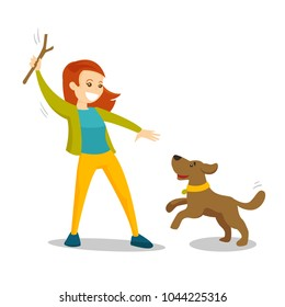 Caucasian white woman training dog with stick. Young woman playing with her small dog on a walk. Owner throwing stick for puppy. Vector cartoon illustration isolated on white background. Square layout