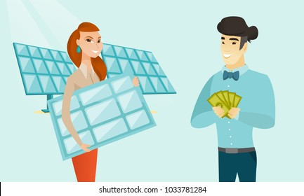 Caucasian white worker of solar power plant holding solar panel and young asian man standing nearby with money. Investment of money in green technology. Vector cartoon illustration. Horizontal layout.