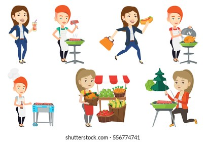 Caucasian woman cooking steak on the barbecue grill. Woman preparing steak on the barbecue grill. Woman having outdoor barbecue. Set of vector flat design illustrations isolated on white background.