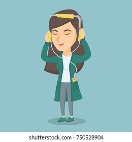 Caucasian woman listening to music on her smartphone. Young woman in headphones listening to music. Relaxed woman with closed eyes enjoying music. Vector cartoon illustration. Square layout.