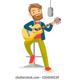 Caucasian woman playing guitar. Guitar player singing song and playing an acoustic guitar. Singer singing into a microphone and playing acoustic guitar. Vector cartoon illustration. Square layout.