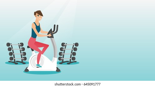 Caucasian woman riding stationary bicycle in the gym. Woman exercising on stationary training bicycle. Young woman training on exercise bicycle. Vector flat design illustration. Horizontal layout.