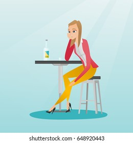Caucasian woman sitting in the bar and drinking a cocktail. Young sad woman sitting in the bar with a cocktail. Woman drinking a cocktail in the bar. Vector flat design illustration. Square layout.