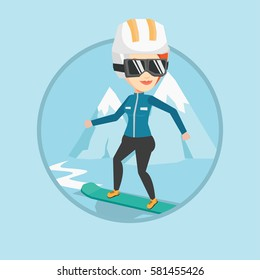 Caucasian woman snowboarding on the background of mountain. Snowboarder on piste in mountains. Woman snowboarding in the mountains. Vector flat design illustration in the circle isolated on background