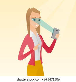 Caucasian woman using smart mobile phone with retina scanner. Young happy woman using iris scanner to unlock her mobile phone. Vector cartoon illustration. Square layout.