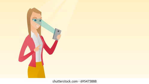 Caucasian woman using smart mobile phone with retina scanner. Young happy woman using iris scanner to unlock her mobile phone. Vector cartoon illustration. Horizontal layout.