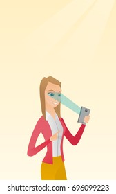 Caucasian woman using smart mobile phone with retina scanner. Young happy woman using iris scanner to unlock her mobile phone. Vector cartoon illustration. Vertical layout.
