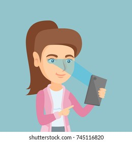 Caucasian woman using a smart mobile phone with retina scanner. Young happy woman using iris scanner to unlock her mobile phone. Vector cartoon illustration. Square layout.