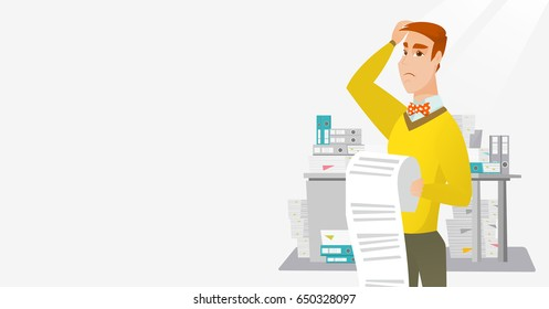 Caucasian worried business man standing with long bill in hands. Disappointed business man holding long bill. Businessman looking at long bill. Vector flat design illustration. Horizontal layout.