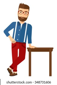 A caucasian young hipster man with the beard leaning on a table vector flat design illustration isolated on white background. Vertical layout.