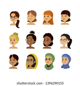 Caucasian,arabic and african american woman faces,set of different beauty female characters,avatars or icons isolated on white background,vector illustration