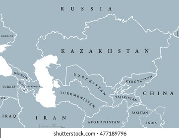 Caucasus and Central Asia countries political map with national borders. English labeling. Illustration.