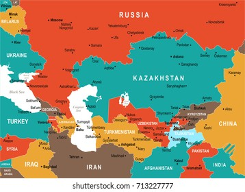 Caucasus and Central Asia Map - Detailed Vector Illustration