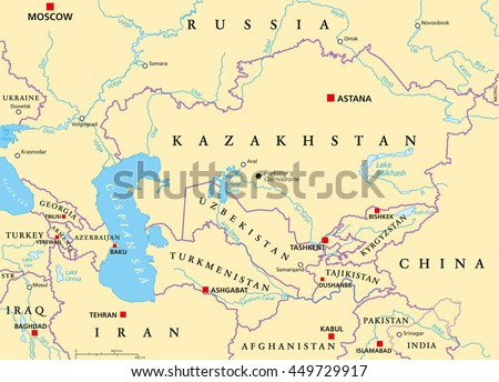 Caucasus Central Asia Political Map Countries Stock Vector Royalty