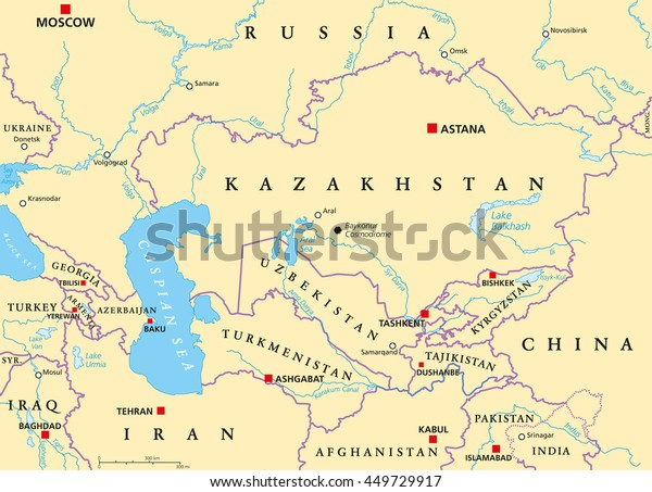 Caucasus Central Asia Political Map Countries Stock Vector (Royalty on