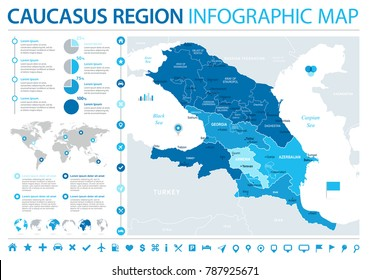 Caucasus Region Map - Detailed Info Graphic Vector Illustration
