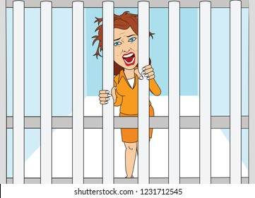 caught in prison Woman girl in jail prisoner holding jail case irons screaming anxious exhausted hair random