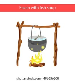 Cauldron with fish soup over the fire. Vector kettle of soup over a fire isolated on a white background. Cauldron with soup.