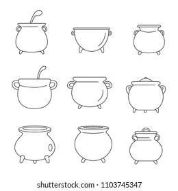 Cauldron pot kettle halloween icons set. Outline illustration of 9 cauldron pot kettle halloween vector icons for web