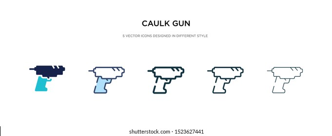 caulk gun icon in different style vector illustration. two colored and black caulk gun vector icons designed in filled, outline, line and stroke style can be used for web, mobile, ui