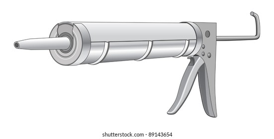 Caulk Gun is an illustration of a caulk gun used in construction and home repair.