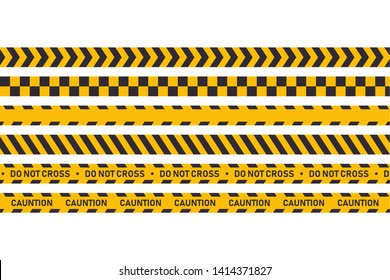 Cauntion or danger tape isolated. Set industrial protection tapes. Attention hazard. EPS 10 stock vector