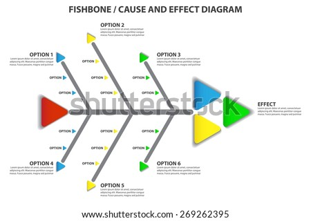 Cause Effect Fishbone Diagram Vector Infographic Stock Vector