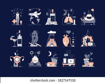 Causes of insomnia set: stress, depression, jet lag, medications, sleep apnea, sedentary lifestyle, alcohol, smoking, coffee, heart disease, menopause, electronic devices, diabetes vector illustration