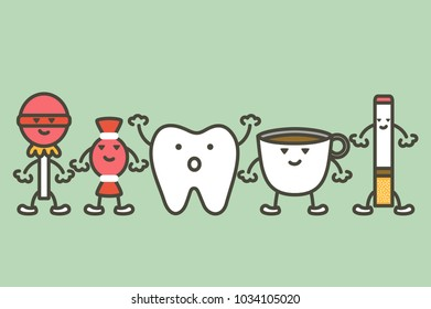 causes of tooth damage, decay and yellow teeth concept - dental cartoon vector flat style cute character for design