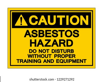 Caution Asbestos Hazard Symbol Sign, Vector Illustration, Isolated On White Background Label .EPS10