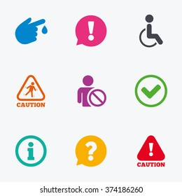 Caution and attention icons. Question mark and information signs. Injury and disabled person symbols. Flat colored graphic icons.