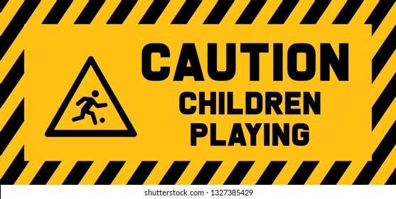 Caution children playing play sign signs school bus Back to school game Vector fun funny beware children roadsign Safety first pedestrian Conceptual play traffic Slow down children at play kids zone