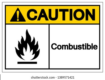 Caution Combustible Symbol Sign, Vector Illustration, Isolate On White Background Label. EPS10