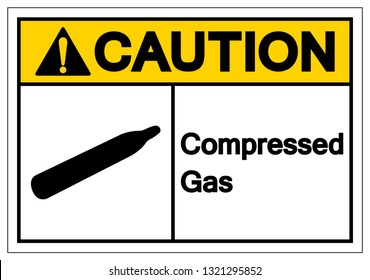Caution Compressed Gas Symbol Sign, Vector Illustration, Isolate On White Background Label. EPS10
