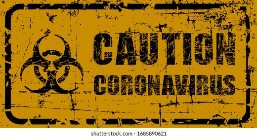 Caution Coronavirus warning black grunge text. Trendy design element for prints, web pages, banners, posters and background