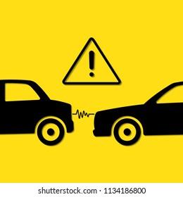 caution crash head car to rear car, caution keep distance
