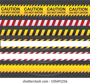 Caution and danger ribbon over gray background vector illustration