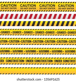 Caution and danger ribbon over white background vector illustration