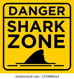 Caution Danger Shark Zone on Beach Yellow Warning Sign