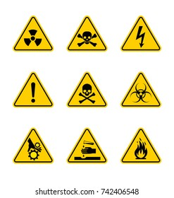 caution danger sign. Hazard warning signs