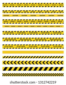 Caution and danger tapes. Warning tape. Black and yellow line striped. Do not enter, Do not cross, Under Construction. Vector illustration