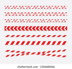 Caution and danger tapes. Warning tape. Red and white line striped. Vector illustration