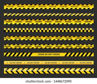 Caution and danger tapes. Warning tape. Black and yellow line striped. Police line isoleted. Vector illustration