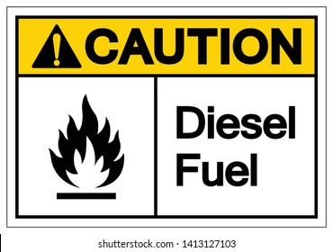 Caution Diesel Fuel Symbol Sign, Vector Illustration, Isolate On White Background Label. EPS10