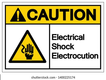 Caution Electrical Shock Electrocution Symbol Sign, Vector Illustration, Isolate On White Background Label .EPS10
