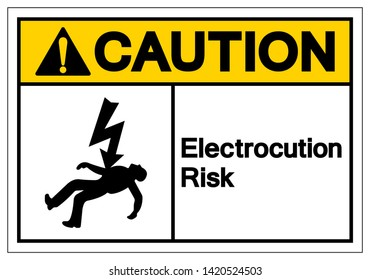 Caution Electrocution Risk Symbol Sign, Vector Illustration, Isolated On White Background Label .EPS10